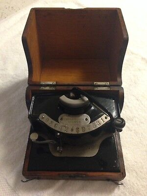 Antique US Check Punch/ Protector/ Built-In Writer Oak Case
