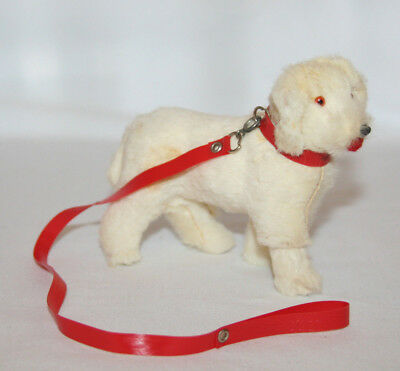 Vintage Rare Original Fur Toys DOG with collar and leash  paper label W. Germany