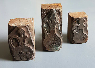collection of 3 vintage copper letterpress printing blocks of decanters