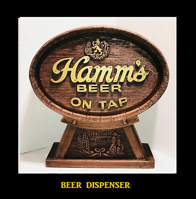 Unique Rare One Of A Kind Hamms Beer Two Piece Beer Dispenser Display Nos 1988