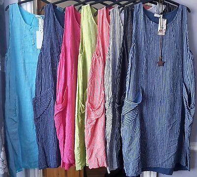 Ladies Cotton New Italian Stripe Design Summer Sun Quirky Boho Long Pocket Dress