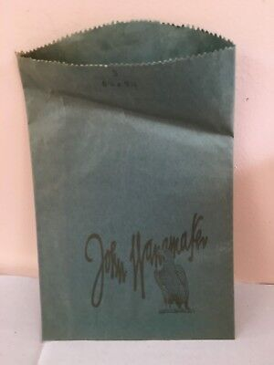 "Vintage John Wanamaker Eagle Shopping Store paper Bag 6.75"" x 9.25"" Blue"