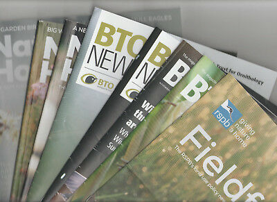 Job Lot X 8 Bird Magazines 2015-2018 - Rspb Natures Home / Fieldfare / Bto News