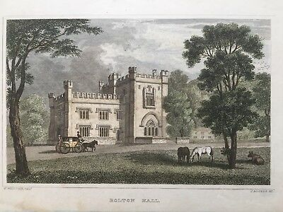 1829 Antique Print; Bolton Hall, Preston-under-Scar, Yorkshire after Whittock