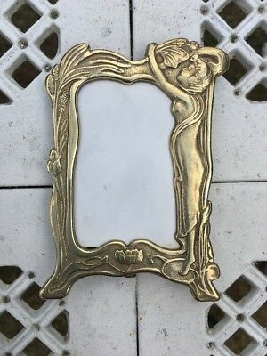 VINTAGE ART NOUVEAU BRASS PICTURE FRAME Minature 1960s Rare Glass Deco Stands