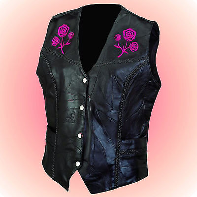 -Ladies ROSE Leather Motorcycle Biker Vest--Size Small --Braided Trim