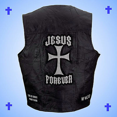 --CHRISTIAN THEME--Leather Motorcycle Biker Vest-JESUS FOREVER-Men's Size 3X