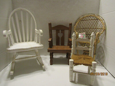 Junk Drawer Lot Doll Furniture Wicker Chair, Rocking Chair, Ceramic Chair, Rope