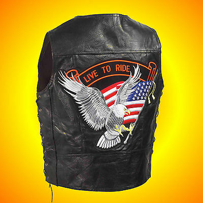 -Leather Motorcycle-Biker Vest-- LIVE TO RIDE--Men's Large --$49 Patch on Back