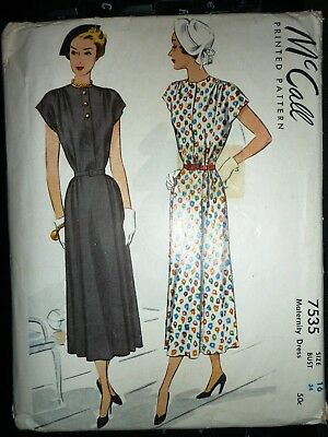 ccc107efb0c RARE VINTAGE 1940 s McCALL MATERNITY DRESS SEWING PATTERN BUST 34