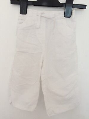 Next Girls White Cotton Cropped Trousers age 12-18 months