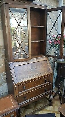 Large Vintage Solid  Antique Oak Secretaire Bureau Bookcase Storage Cabinet