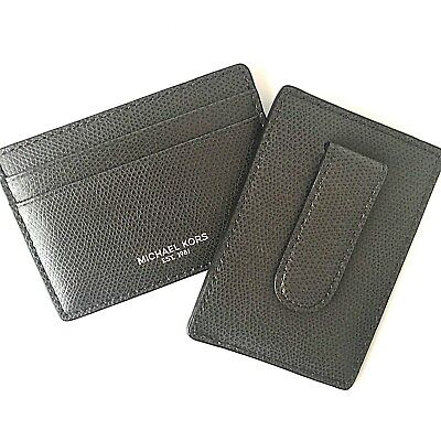 Michael Kors Mens Gray Card Case with Money Clip - Warren