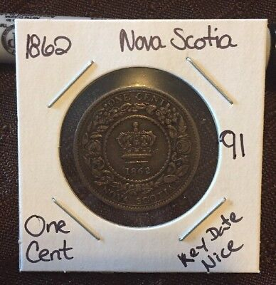 1862 Nova Scotia One Cent Nice Key Date Lot 91