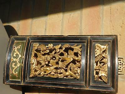 Antique Chinese Carved Wooden Panel Wood Lacquer Gilt Figures Performers 19Thc