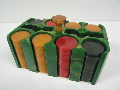 Vintage 200-Chip Bakelite/Catalin Poker Set in Green Catalin Caddy and Yellow Kn