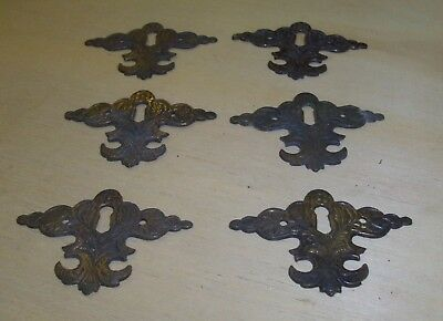 2) Job Lot Vintage Antique Style Reclaimed Brass Keyhole Lock Covers Escutcheons