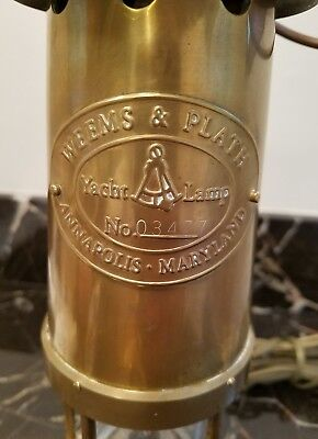 Vintage Weems & Plath Brass Electric Yacht Lamp No 03477 Annapolis Maryland