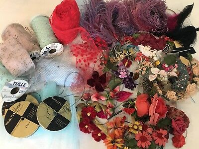 Lge lot Vtg Hat craf Millinery, flowers, Ostrich feathers,Tulle & Organdy Ribbon