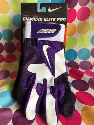 Nike Diamond Elite Pro GB0335 White/Purple Baseball Batting Gloves Size XL