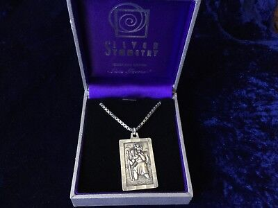 Vintage large sterling silver St Christopher and hallmarked chunky box chain