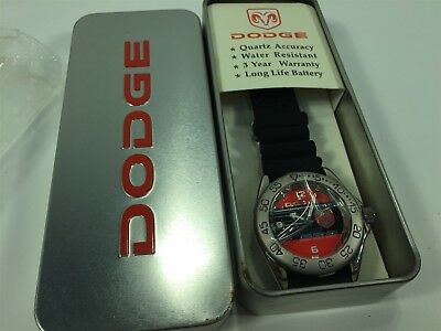 Dodge Silver Red Black Wrist Watch New Old Stock With Box Quartz Water Resistant
