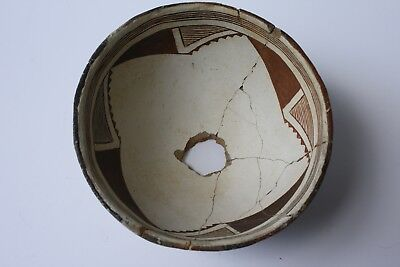 Ancient Mimbres Black White Indian Pottery Bowl with Kill Hole