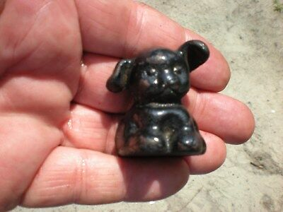 Antique 1920s Cast Iron Fido Pup Dog Mini Paperweight  End of Day Cast