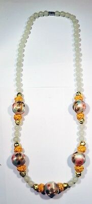 Vintage Chinese Jade and Cloth Bead Knotted Necklace