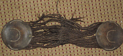 Old Horse girth,leather, horse hair braids and iron rings. Military or western?