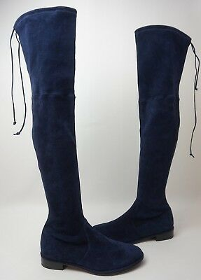 08cc9e68805 Stuart Weitzman Lowland Over the Knee Suede Boots Navy Blue Size 9.5 M