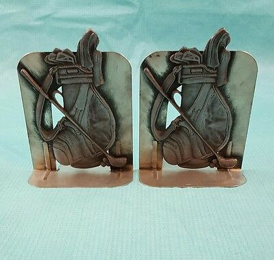 1980 Metzke Set of Metalware Pewter Bookends Golf Bag Book Ends Stands Vintage