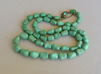 Vintage Chinese Turquoise Carved Bead Necklace Silver Clasp - 56.8 Grams 26""