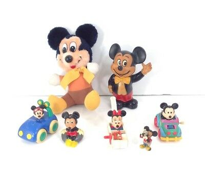 Vtg Lot Mickey Mouse Toys-Plush Piggy Bank Plastic Figurines Disney Collectibles