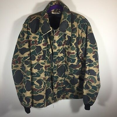 Vintage CAMO Bomber Jacket Size L men's 80's Insulated made in USA big collar