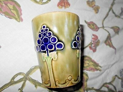 Antique Royal Doulton Art Pottery Miniature Stoneware Tumbler~Hand Decorated