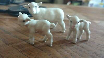Vintage Hagen Renaker mama sheep lamb lot miniature ceramic wild animal figurine