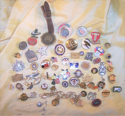 VINTAGE huge lot of 59 fraternal / company / school / military pins & jewelry