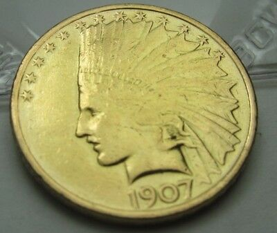 1907-P Gold Eagle, $10 Gold Indian, Very Nice Free Shipping!    211