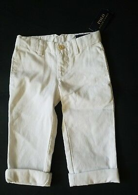 New Toddler Boys Polo RL White Roll Cuff Pants. Size: 2/2T