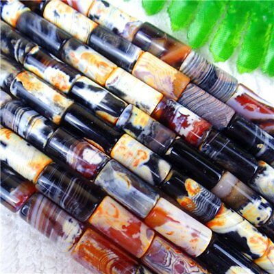 1 Strand Orange&Black Dream Agate Cylindrical Loose Beads 16*8mm/15.5inch HH6120