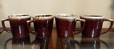 "Vintage McCoy ""Brown Drip"" COFFEE MUGS D Handle Set of 4 USA"