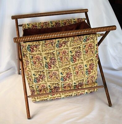 Vtg Wood Folding Sewing Knitting Basket Yarn Fabric Standing Caddy Tote Floral