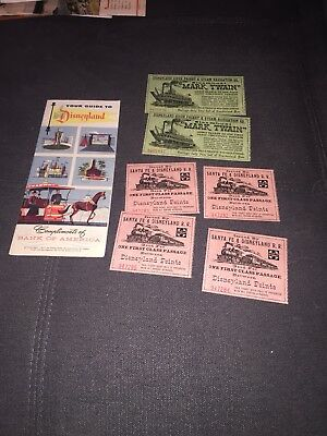 1955 disneyland Guide Map And  6 Tickets