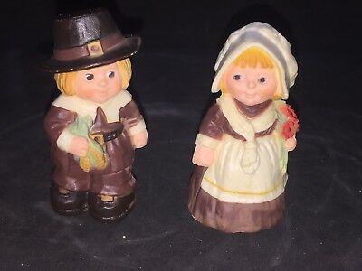 Hallmark Merry Miniatures Thanksgiving 1978 Pilgrim Boy & Girl