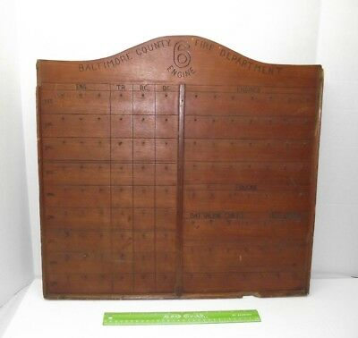 Old Antique Fire Department ENGINE 6 Baltimore County Wood Key Holder Display ??
