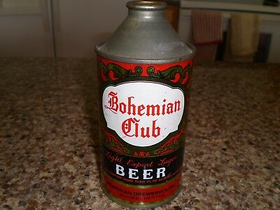 Bohemian Club Cone Top Beer Can - Very Nice