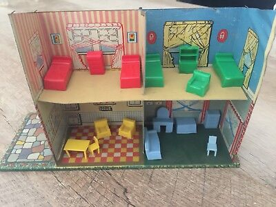 Vintage Tin Dollhouse With Furniture (16 Pieces) No Roof