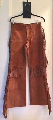 """Vintage-Retro- Rust Colored Suede Fringe """"Cowboy"""" Pants with Pockets~ Groovy!"""