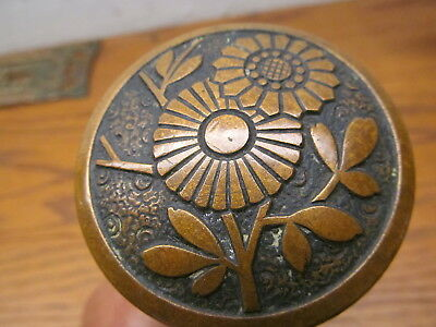 Rare Bronze Russell & Erwin Door Knobs...nice Ornate Daisey ??pattern